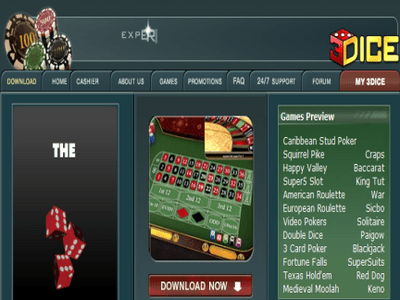 3Dice Casino site captures d