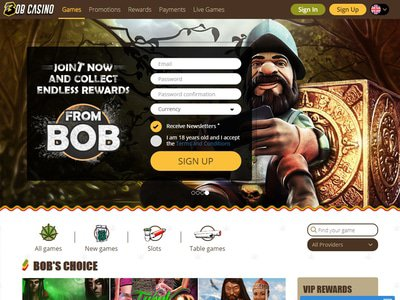 Bob Casino site captures d
