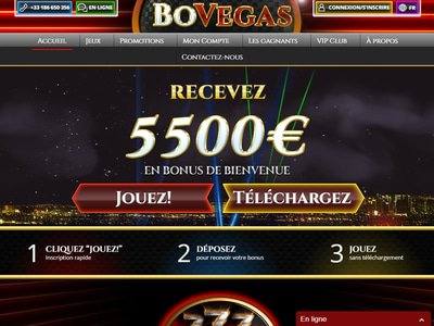 Bovegas Casino site captures d