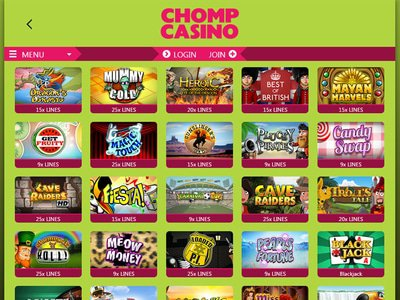 Chomp Casino logiciel captures d