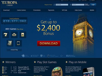 Europa Casino site captures d