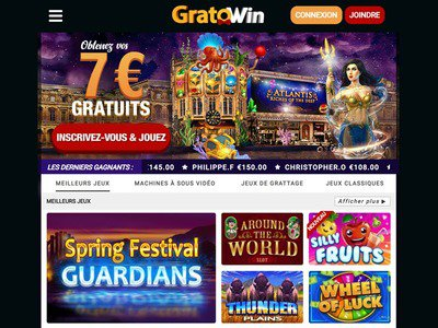 Gratowin Casino site captures d