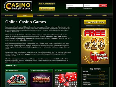 LuckyWin Casino logiciel captures d