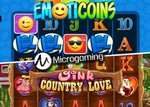 Machines à sous EmotiCoins et Oink Country Love de Microgaming