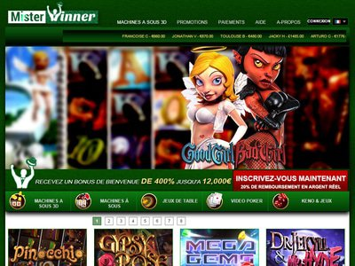 Misterwinner Casino site captures d