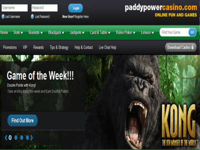 Paddy Power Casino site captures d