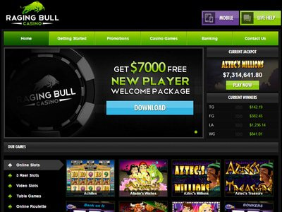RagingBull Casino site captures d