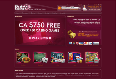 Ruby Fortune Casino site captures d
