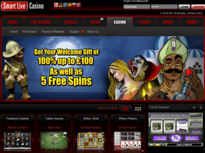 Smartlive Casino site captures d