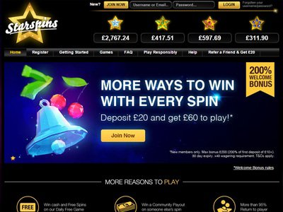 Starspins Casino site captures d