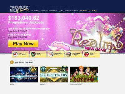 Treasure Mile Casino site captures d