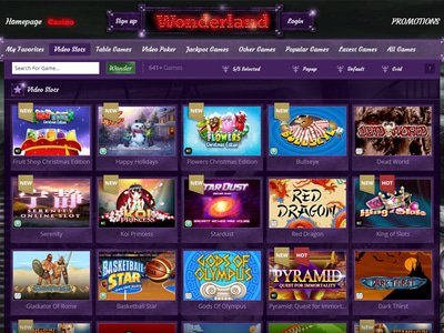 Wonderland Casino logiciel captures d
